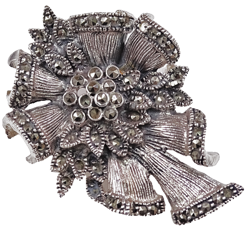 JANE Srebrna broszka z markazytami kokarda kotylion