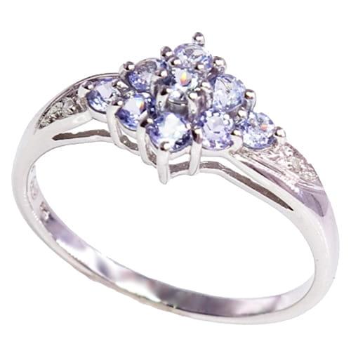 GWIEZDNY PYŁ złoty pierścionek tanzanity diamenty zaręczynowy delikatny 0,6 ct.