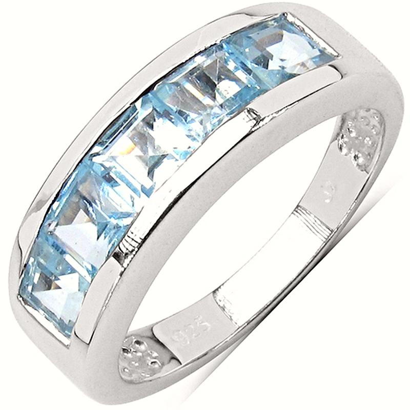 BONNIE Srebrny pierścionek obrączka blue topaz