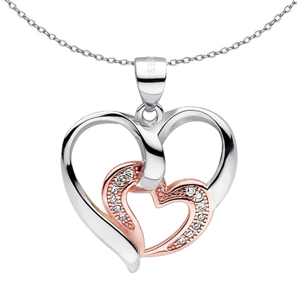 ANAIS Srebrny naszyjnik serce różowe złoto cyrkonie