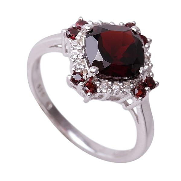 NELL RED Srebrny pierścionek zaręczynowy granaty topazy