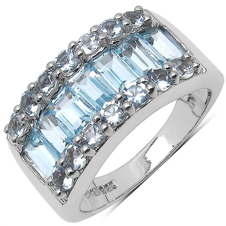 BELINDA Srebrny pierścionek obrączka blue topaz 3,5 ct