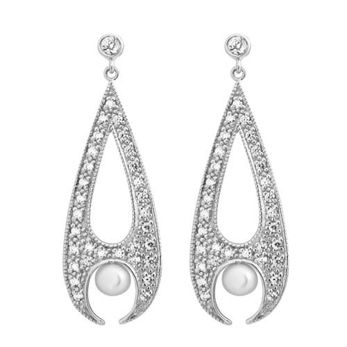 RAJSKIE PTAKI Długie srebrne kolczyki z perłą