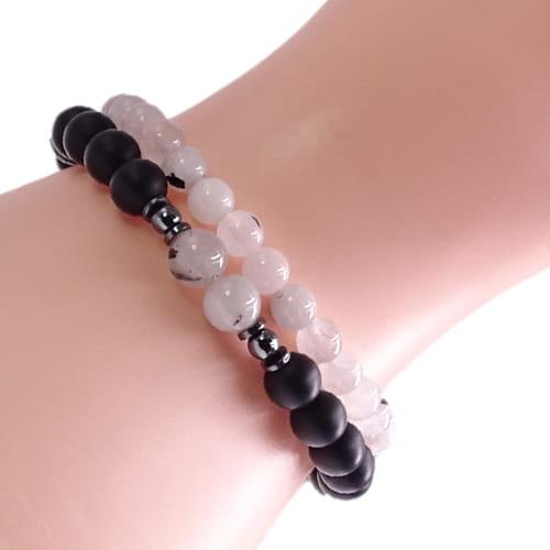 KENT Zestaw bransoletek z kamieni na gumce biała i czarna unisex