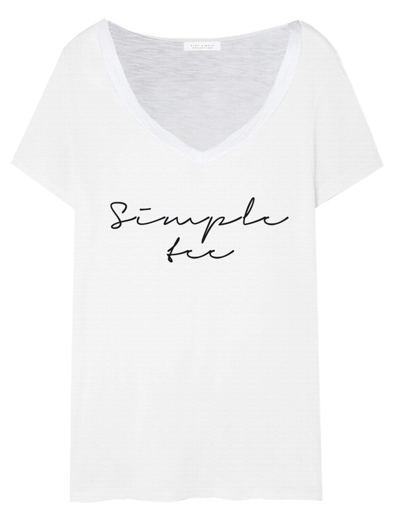 T-shirt V-neck Simple tee Biały - 91387