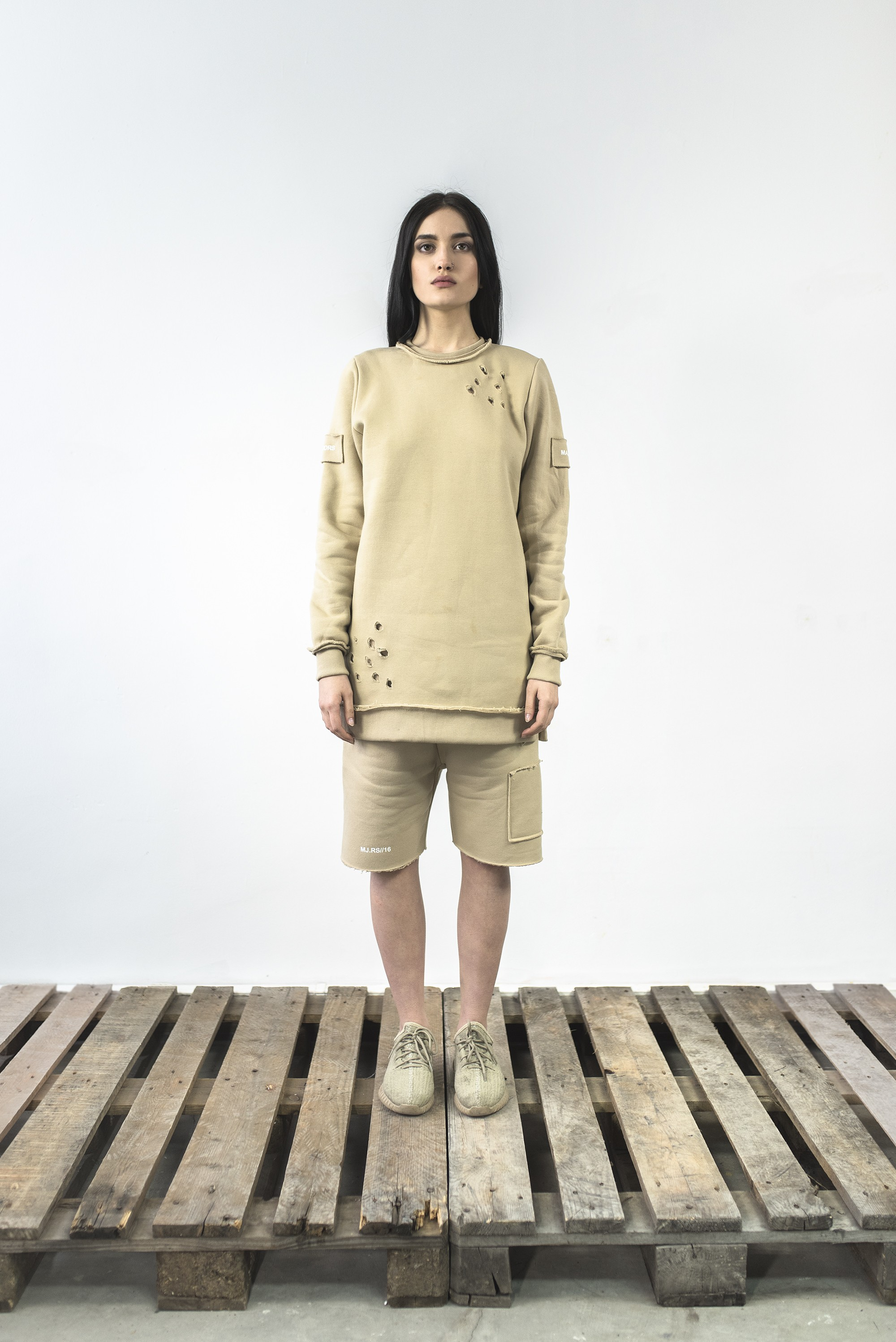 Bluza Destroyed crewneck sand - 63653