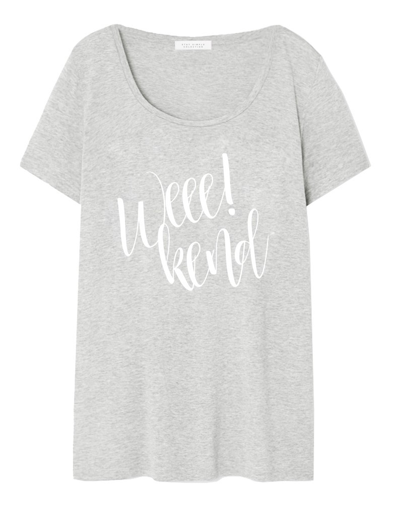 T-shirt Oversized Weekend Szary - 90722