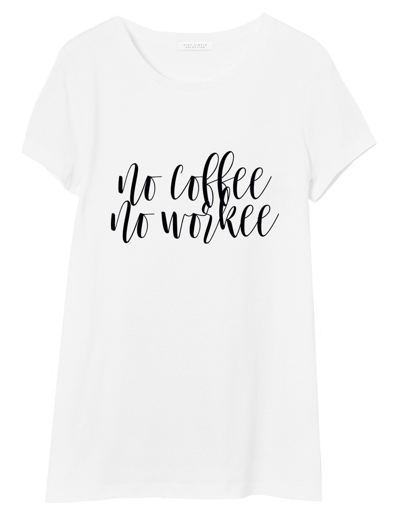 T-shirt Oversized No coffee No workee Biały - 90689
