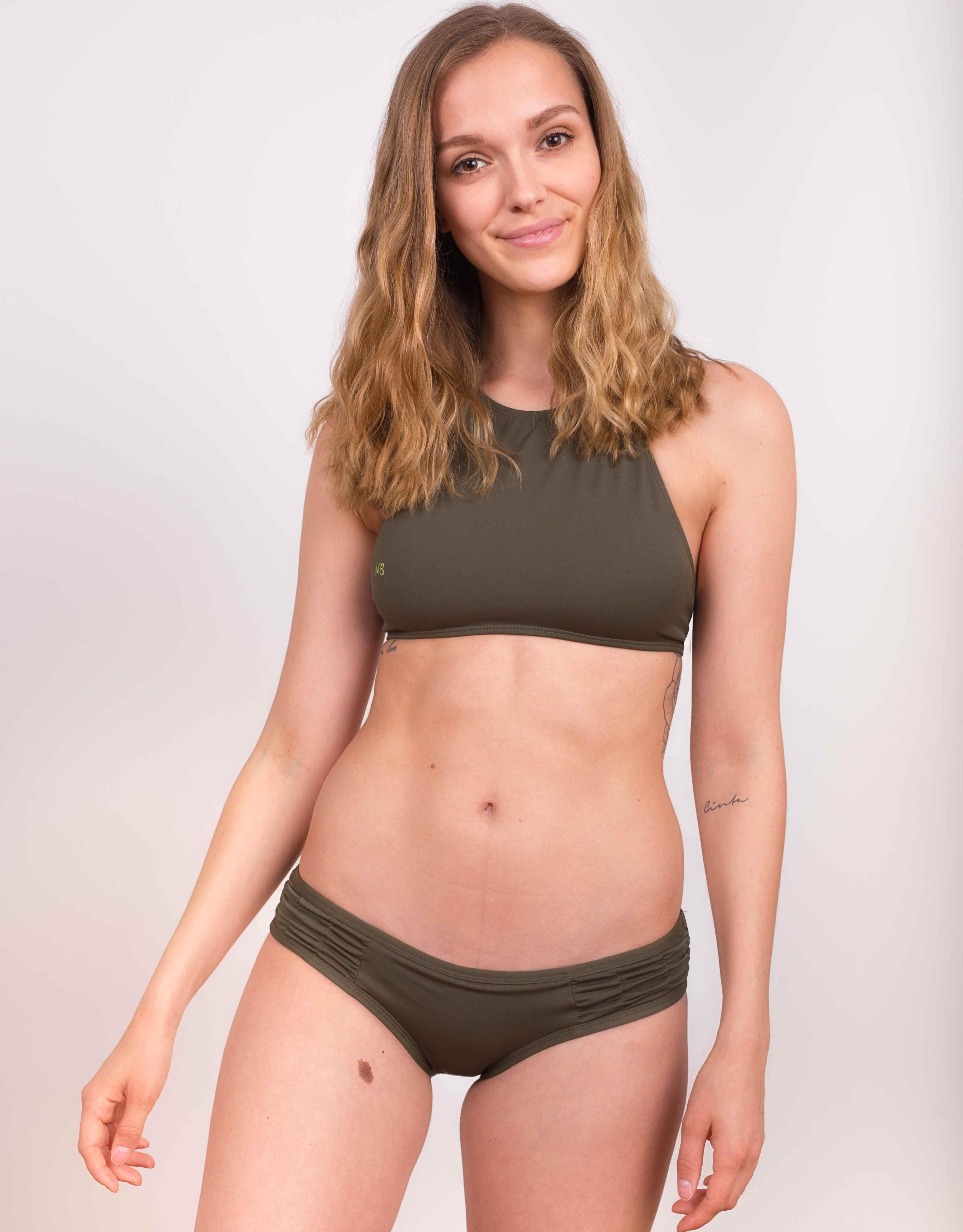 Bikini dół Wide Waist army green - 106078
