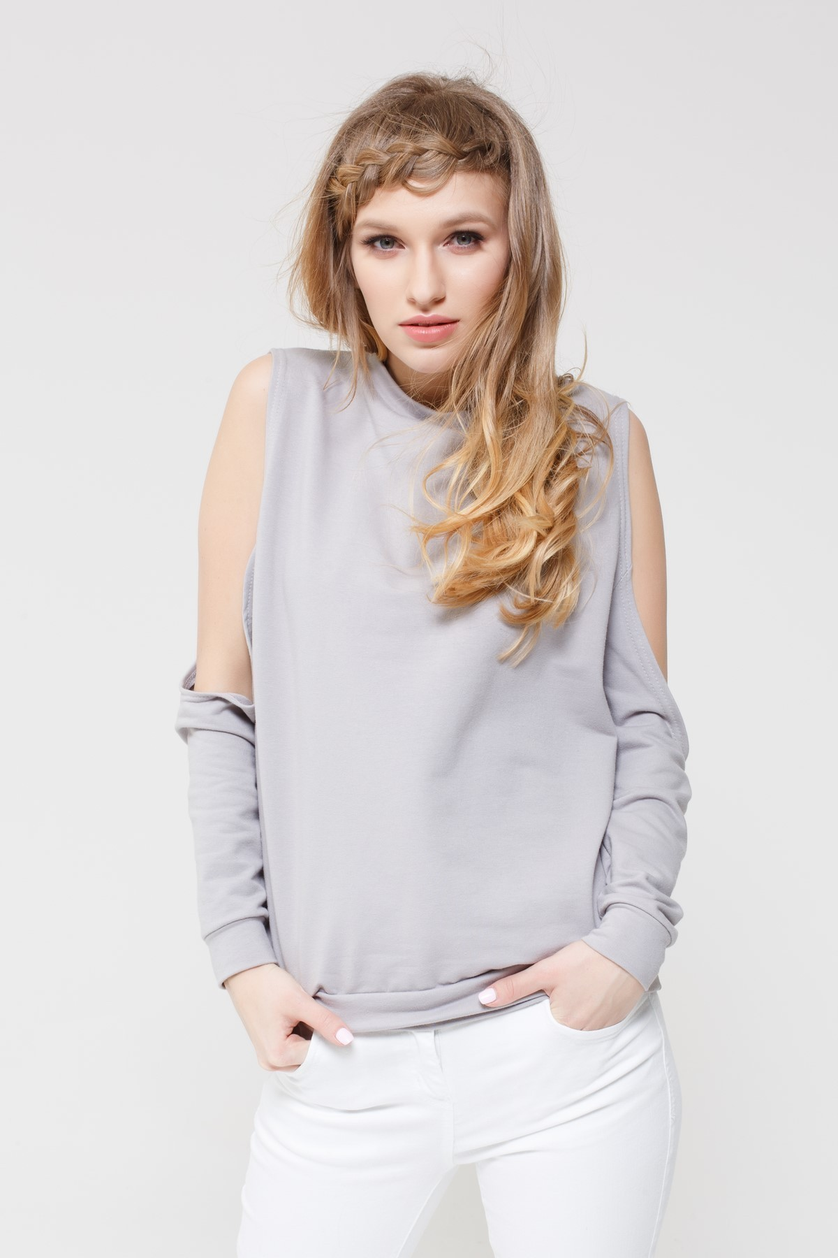 Bluza Cold Shoulder Lavender grey - 97637
