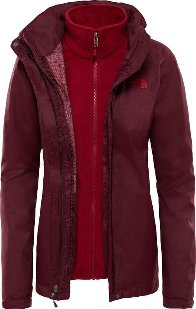 The North Face damska kurtka Women'S Evolve II Triclimate Jacket, Fig Brown/Rumba Red, S