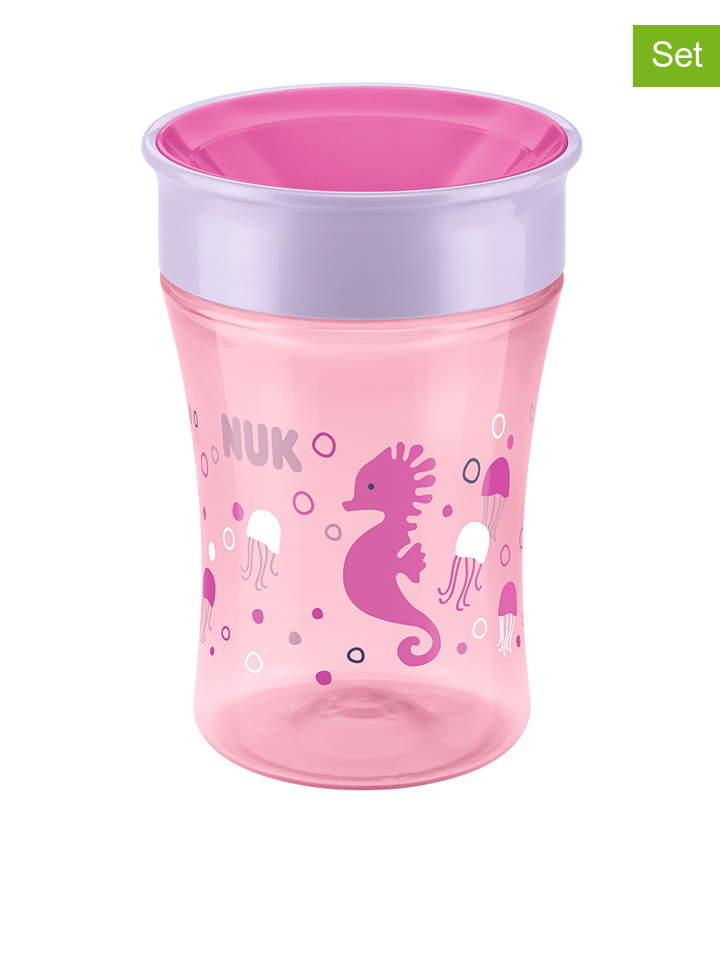 Kubek (2 szt.) &;Easy Learning Magic Cup&; w kolorze jasnoróżowym - 2 x 250 ml - 4008600259121