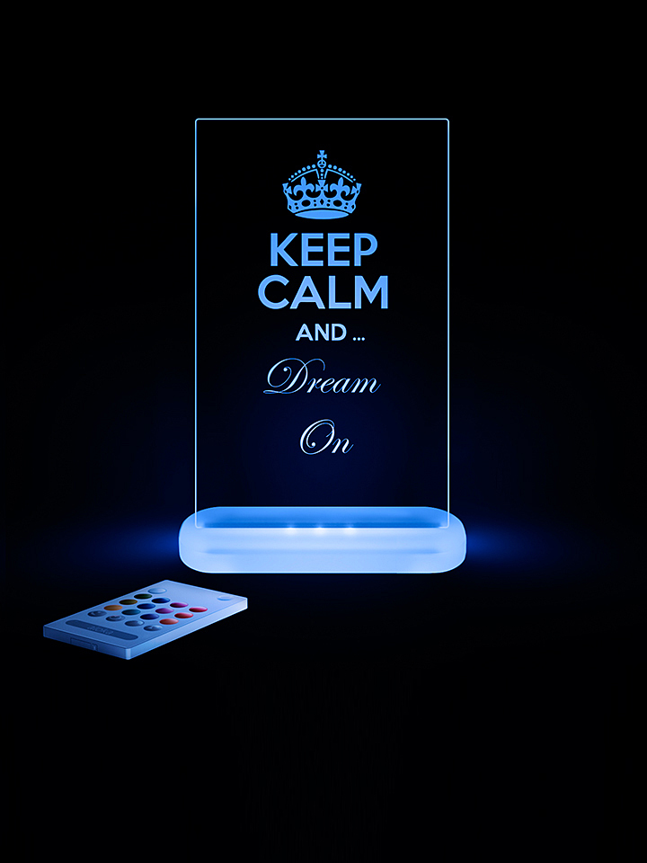 Lampka nocna LED &;Keep Calm and Dream on&; - wys. 21 cm - 616932321283