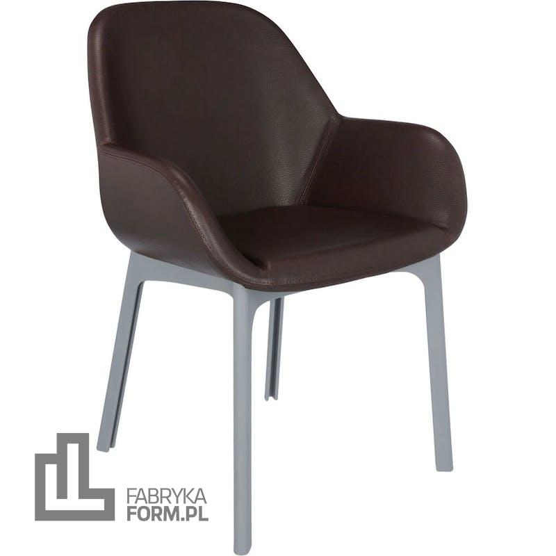 Krzesło Clap Eco Leather brązowe z szarą ramą