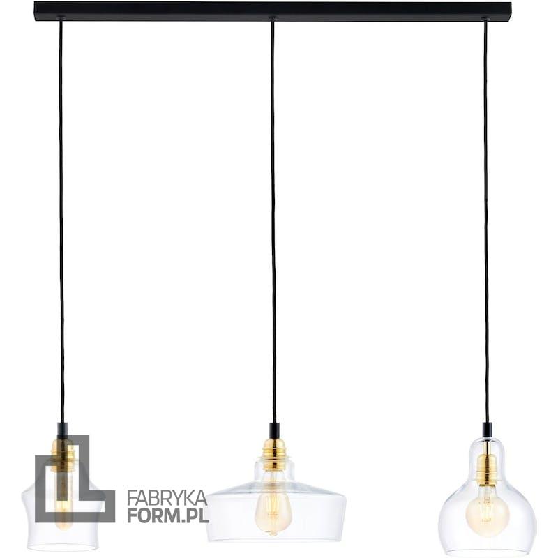 Lampa wisząca listwa Longis 3 czarno-złota