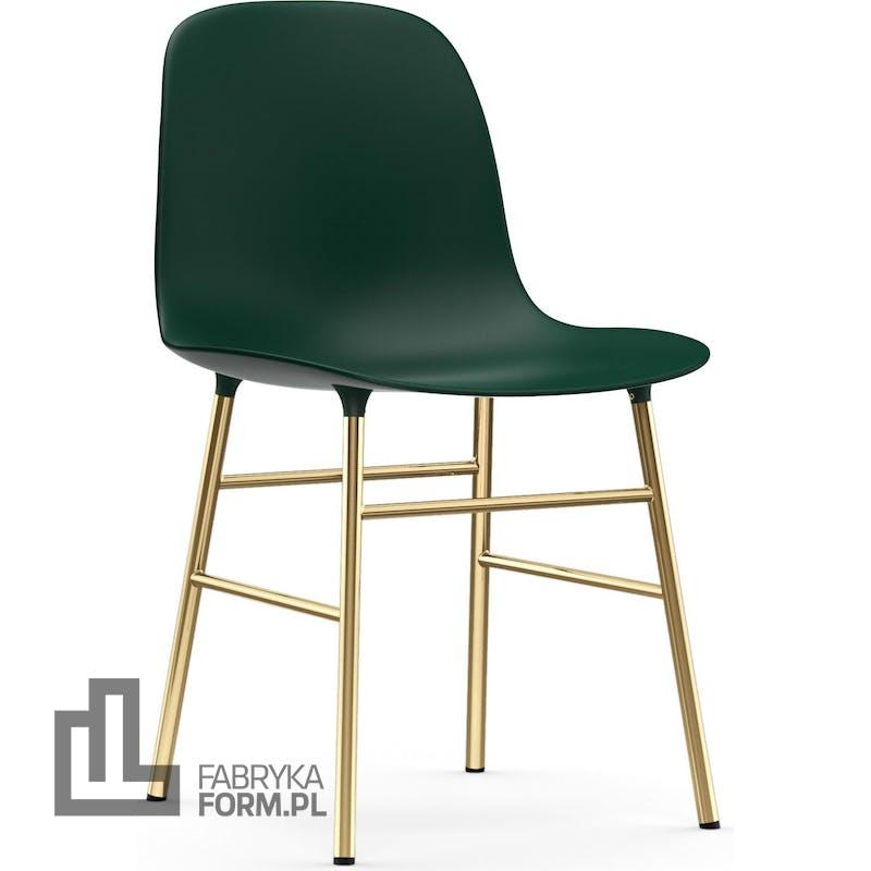 Krzesło Form zielone na mosiężnych nogach