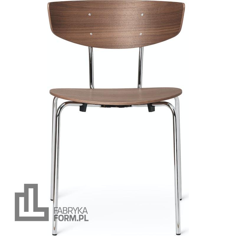 Krzesło Herman orzech na chromowanych nogach