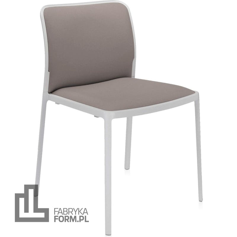Krzesło Audrey Soft beżowe z białą ramą