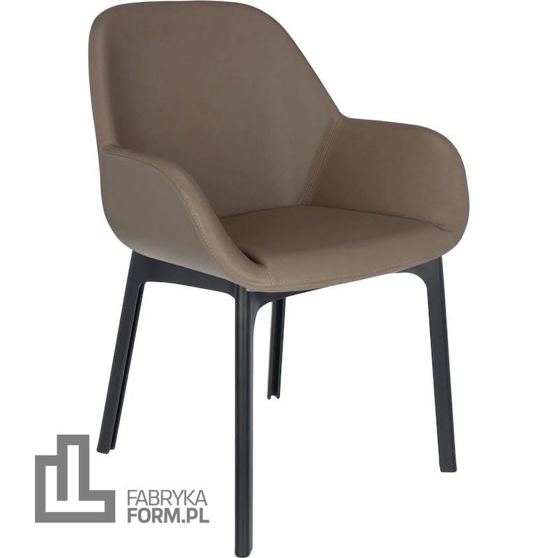 Krzesło Clap Eco Leather taupe z czarną ramą