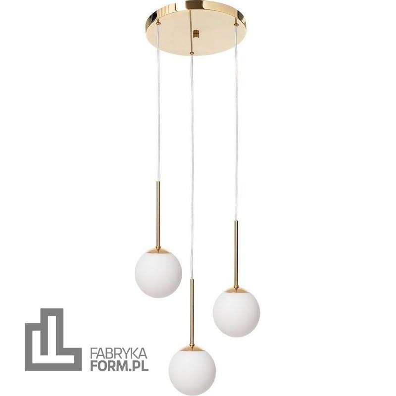 Lampa wisząca Lamia 3 złota z transparentnym przewodem