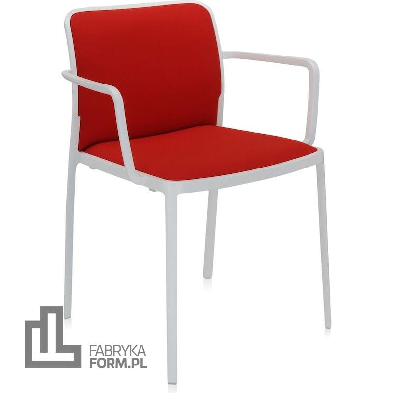 Krzesło Audrey Soft czerwone z podłokietnikami biała rama