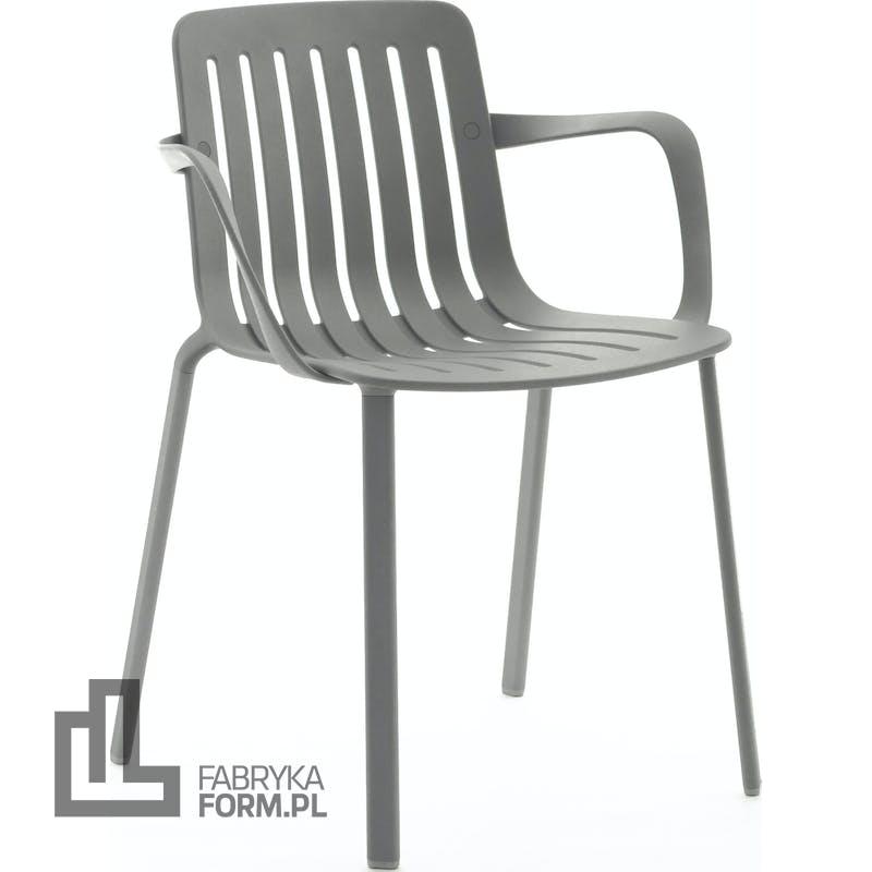 Krzesło Plato szare metalizowane z podłokietnikami