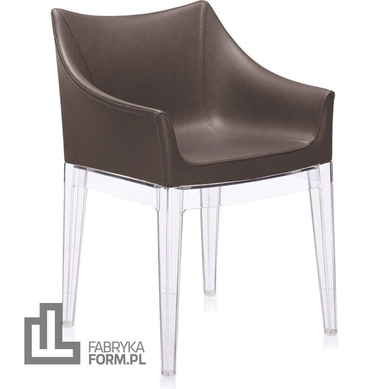 Fotel Madame brązowy z przezroczystymi nogami