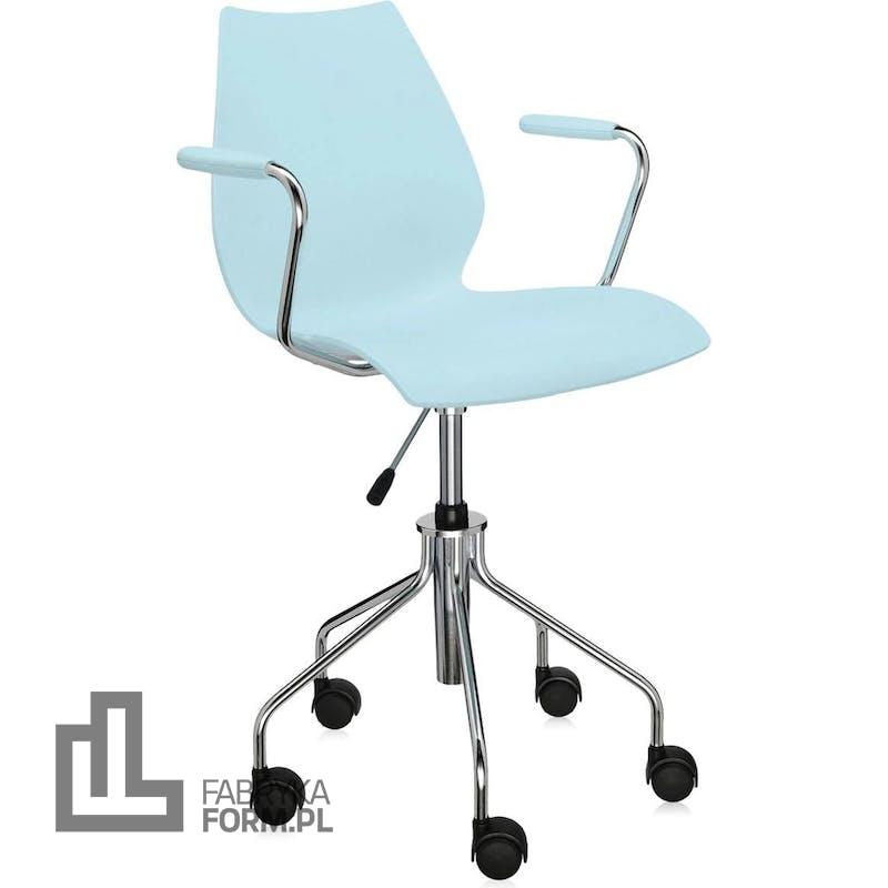 Krzesło na kółkach Maui Swivel jasnoniebieskie z podłokietnikami
