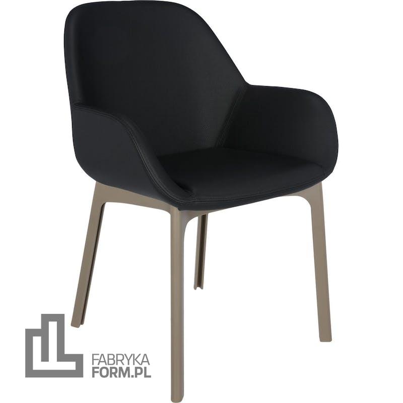 Krzesło Clap Eco Leather czarne z taupe ramą