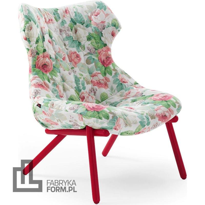Fotel Foliage Flowers Chelsea czerwona rama