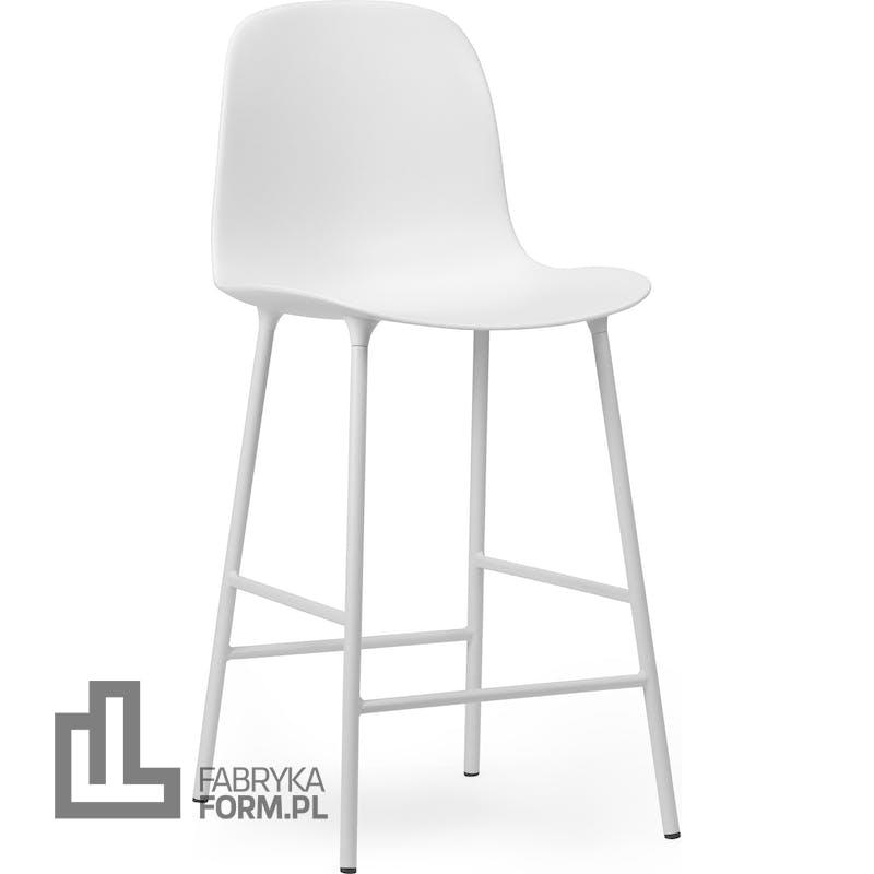 Krzesło barowe Form 65 cm białe na stalowych nogach