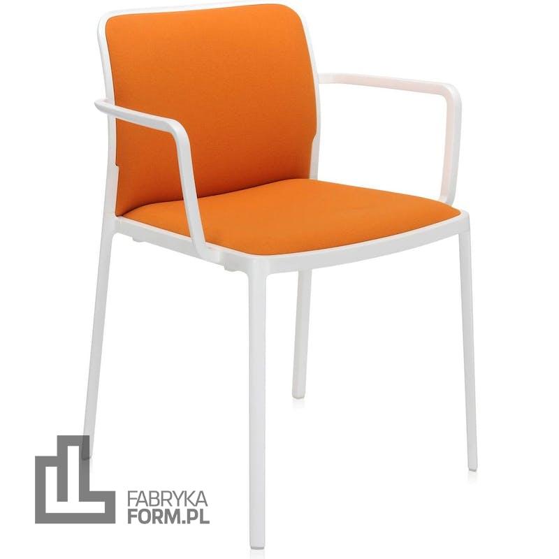Krzesło Audrey Soft pomarańczowe z podłokietnikami biała rama