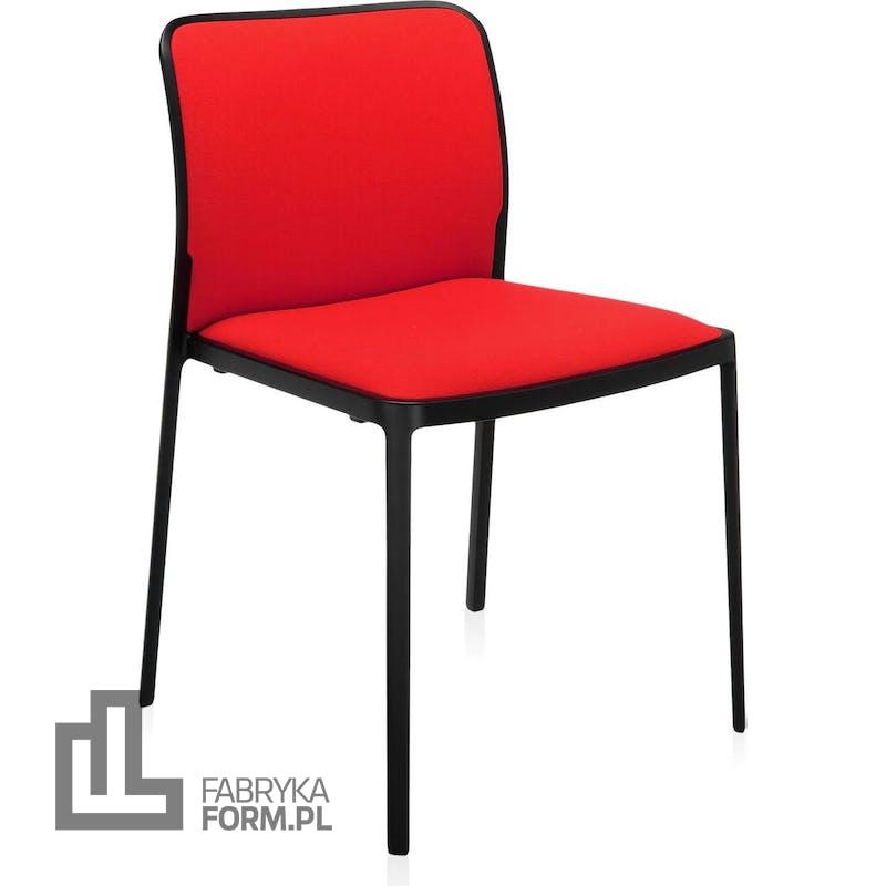 Krzesło Audrey Soft czerwone z czarną ramą