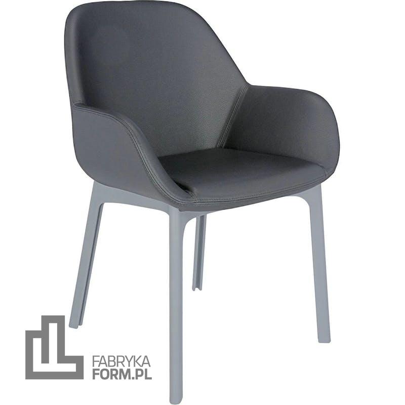 Krzesło Clap Eco Leather ciemnoszare z szarą ramą