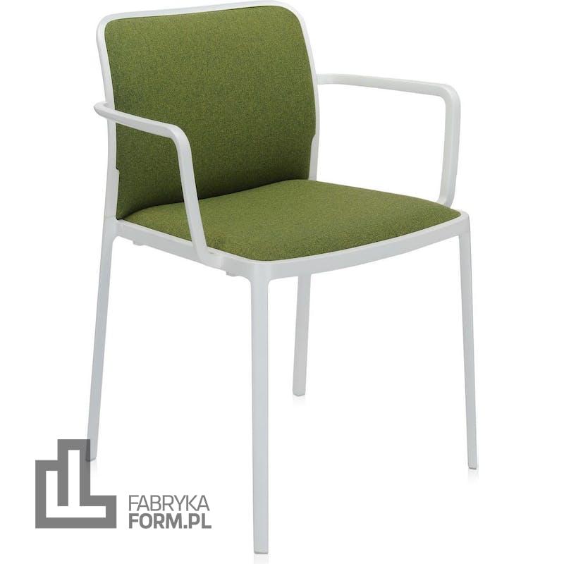 Krzesło Audrey Soft zielone z podłokietnikami biała rama