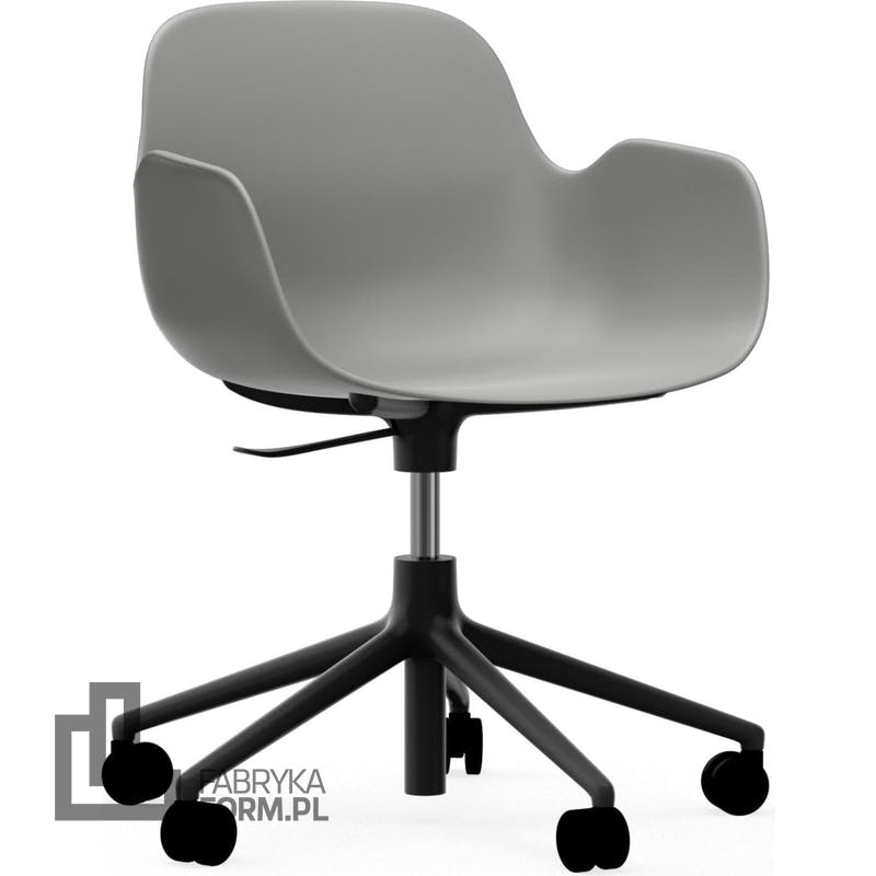 Fotel na kółkach Form Swivel 5W szary na czarnych aluminiowych nogach