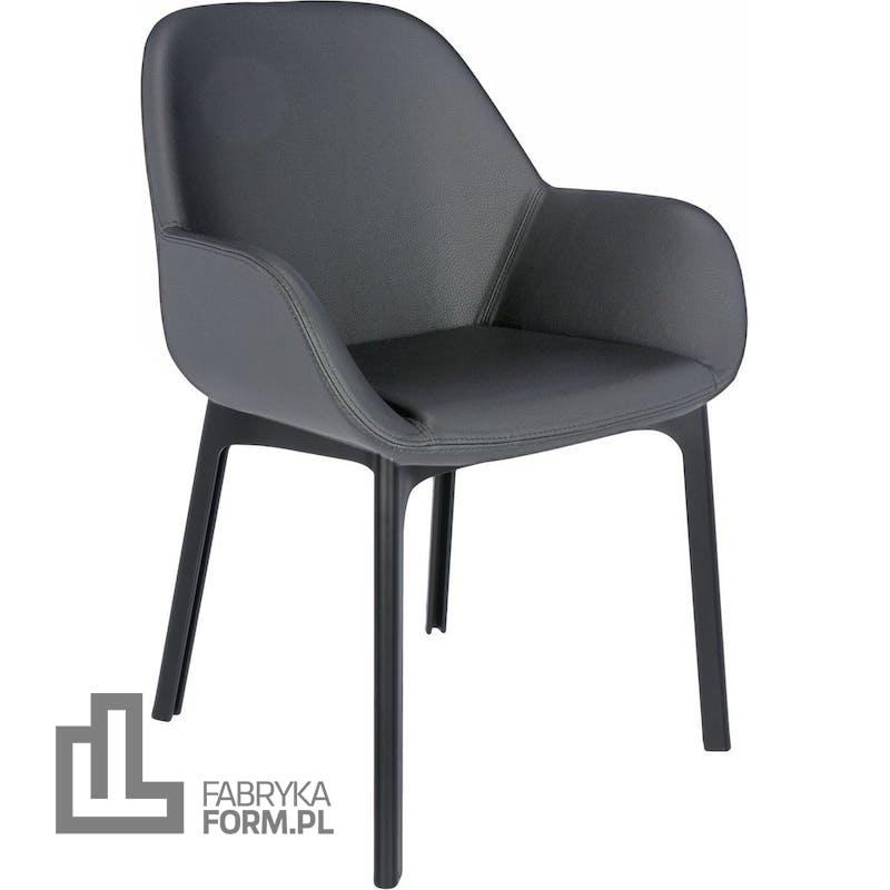 Krzesło Clap Eco Leather ciemnoszare z czarną ramą