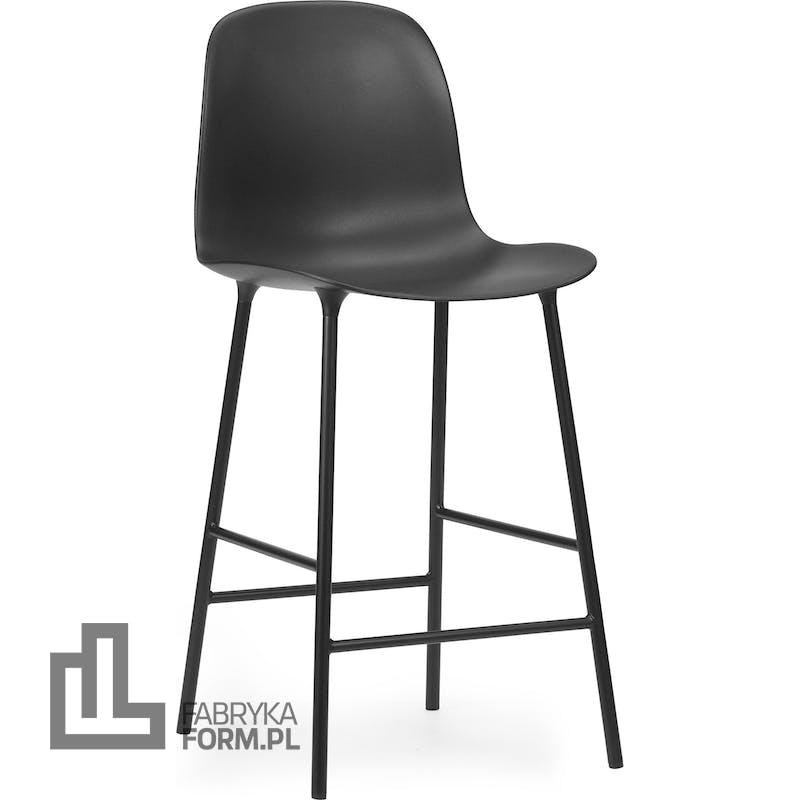 Krzesło barowe Form 65 cm czarne na stalowych nogach
