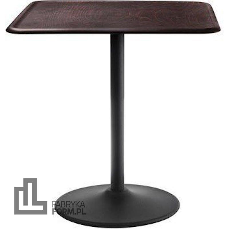 Stół Pipe kwadratowy noga czarna blat ciemny