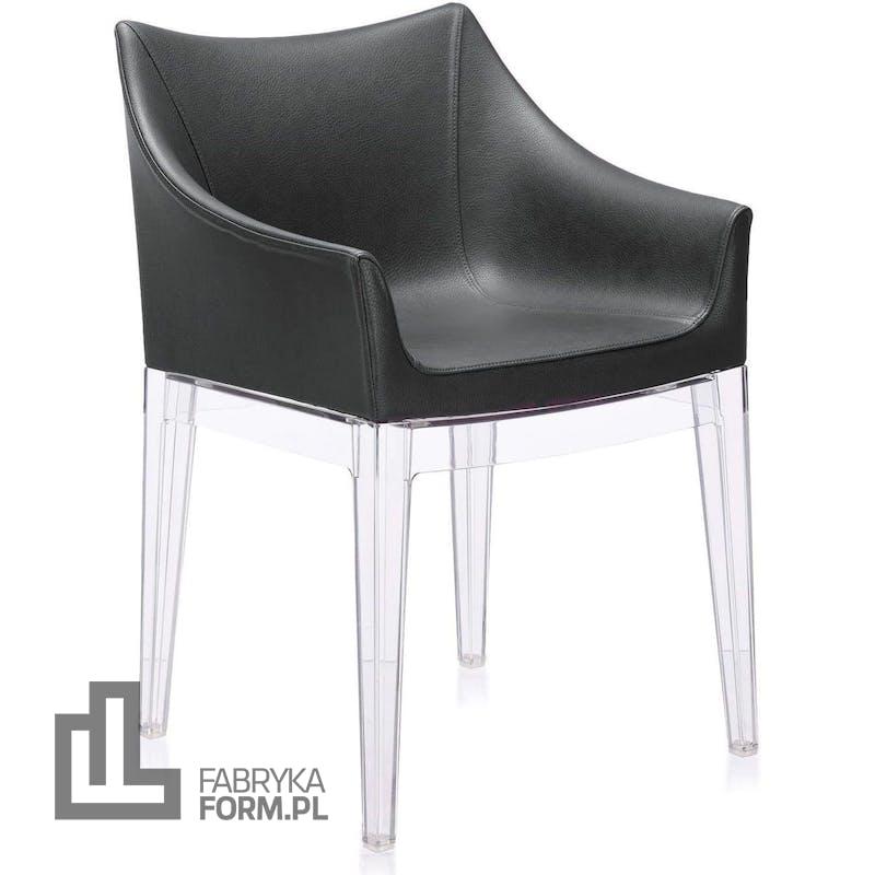 Fotel Madame czarny z przezroczystymi nogami