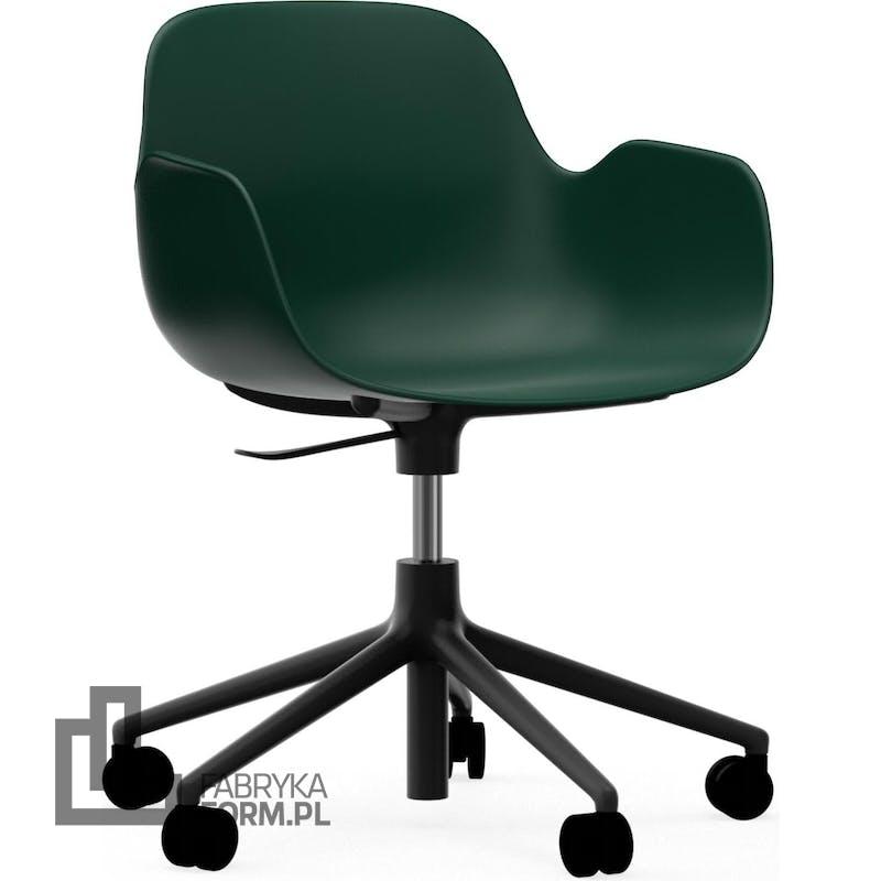 Fotel na kółkach Form Swivel 5W zielony na czarnych aluminiowych nogach