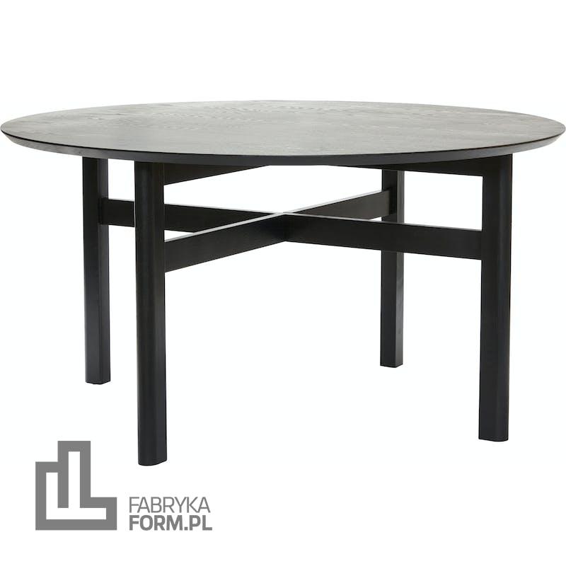 Stół Hübsch okrągły 140 cm czarny z drewna dębowego