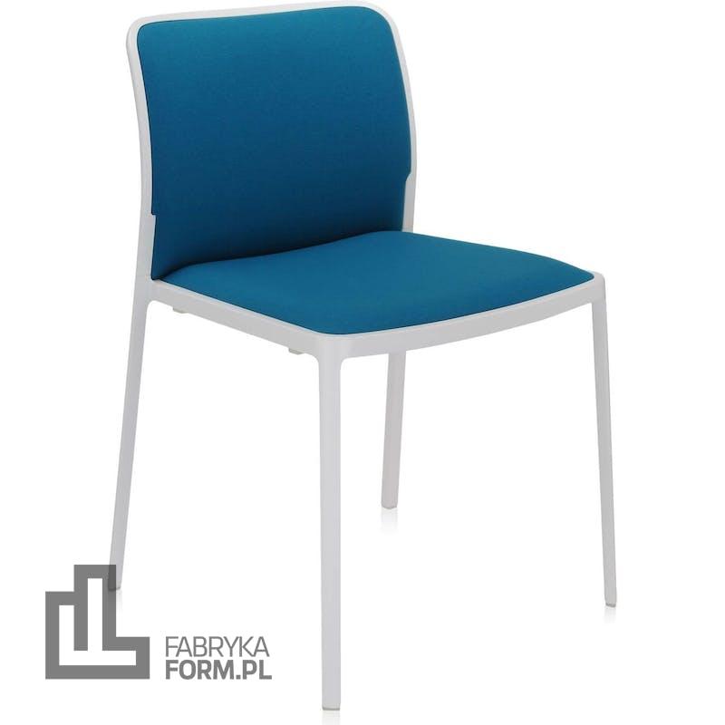 Krzesło Audrey Soft turkusowe z białą ramą