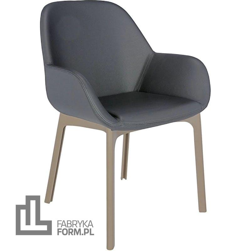 Krzesło Clap Eco Leather ciemnoszare z taupe ramą