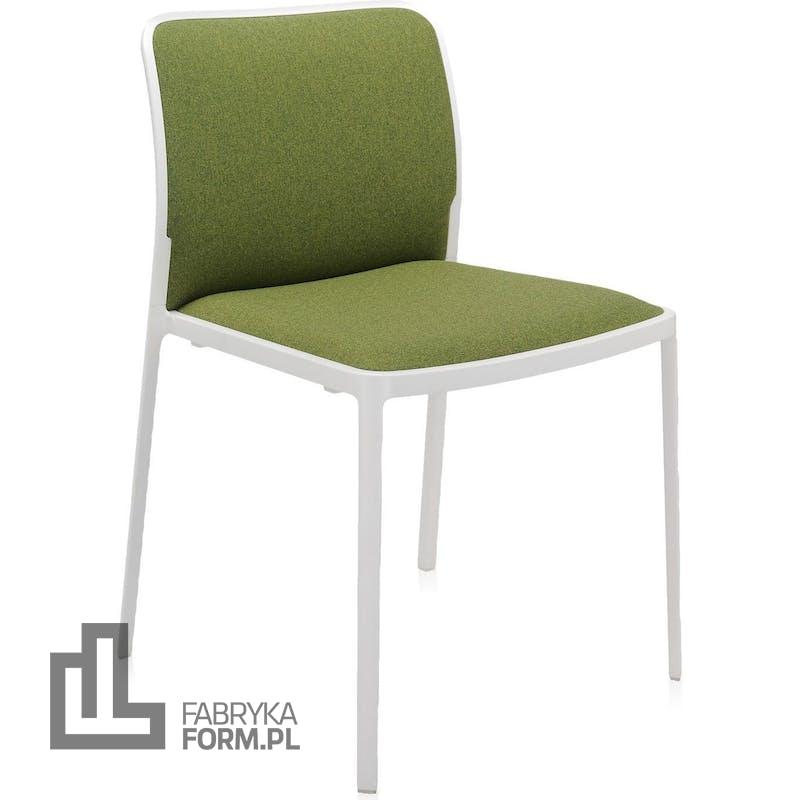 Krzesło Audrey Soft zielone z białą ramą
