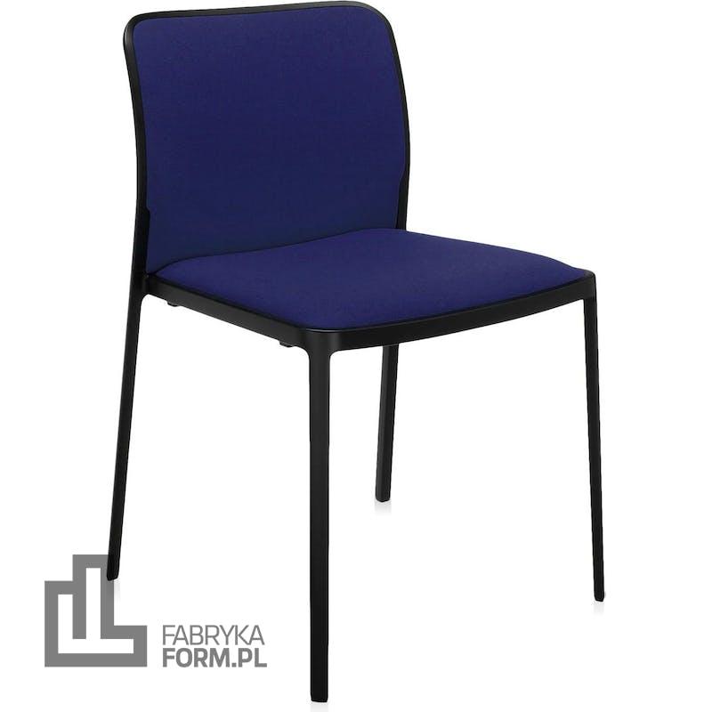 Krzesło Audrey Soft niebieskie z czarną ramą