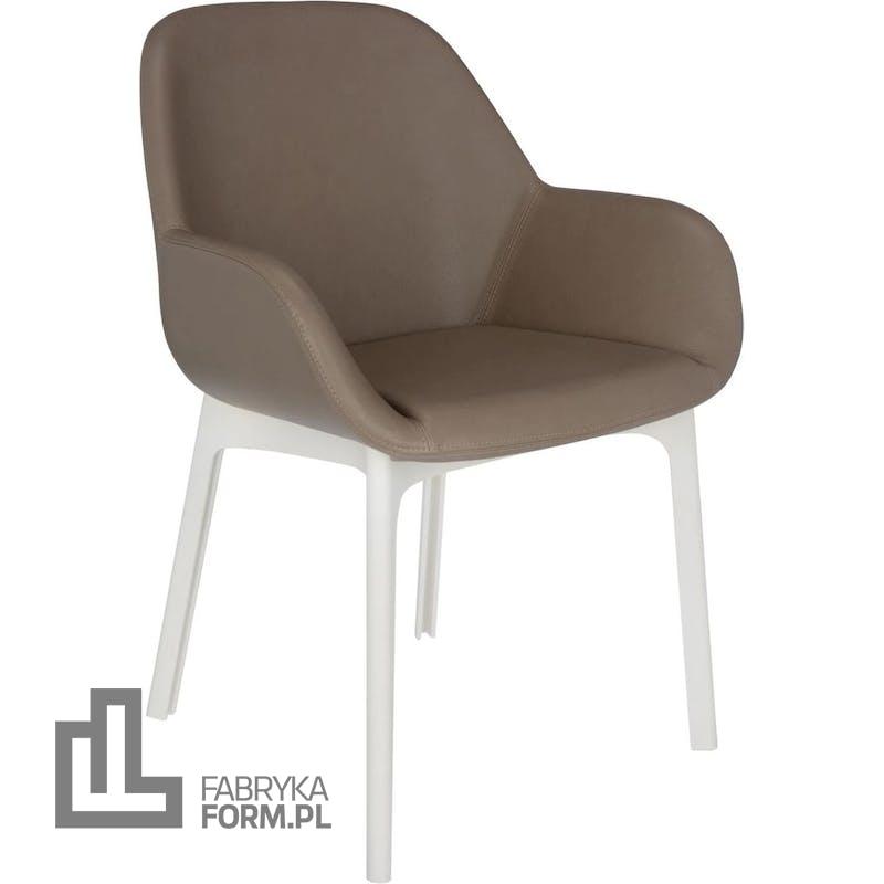 Krzesło Clap Eco Leather taupe z białą ramą