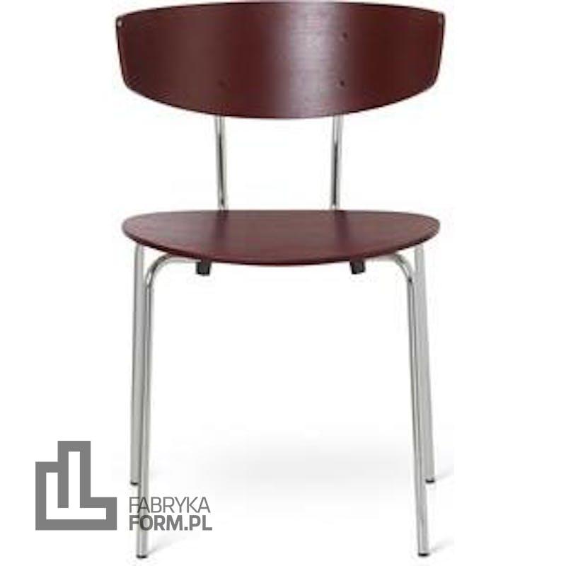 Krzesło Herman kasztanowe na chromowanych nogach
