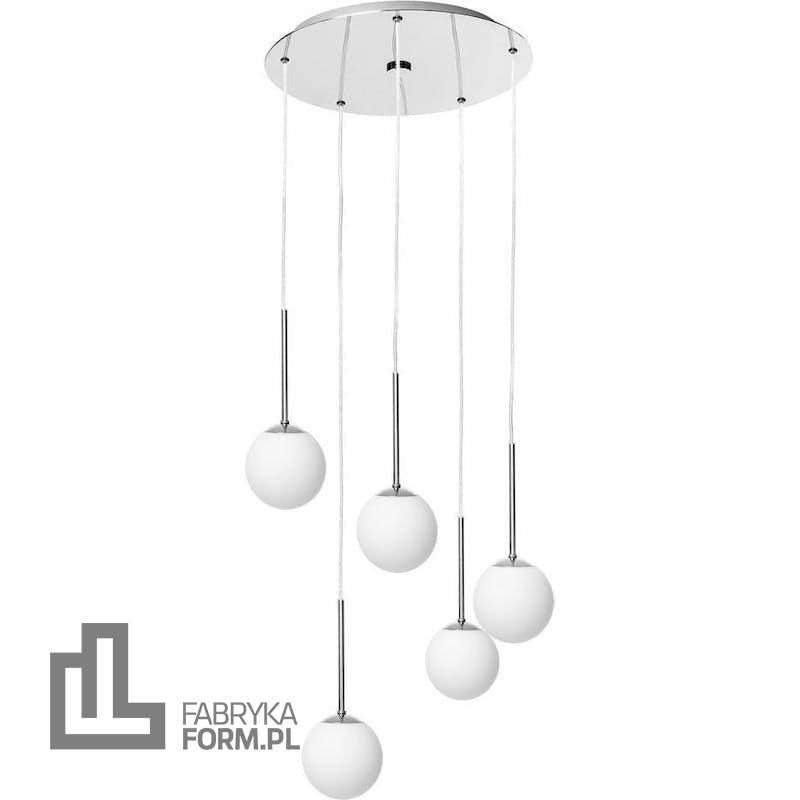Lampa wisząca Lamia 5 chrom z transparentnym przewodem