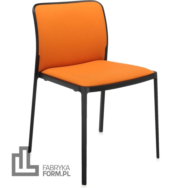 Krzesło Audrey Soft pomarańczowe z czarną ramą